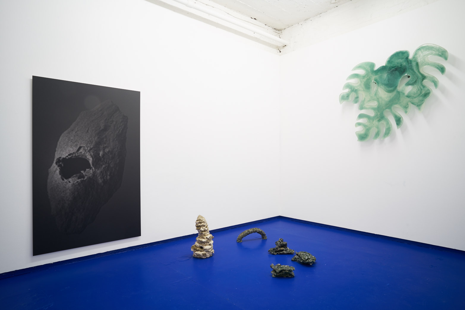 Tropical Hangover, Installation view with works by Salvatore Arancio and Zuzanna Czebatul. Tenderpixel.
