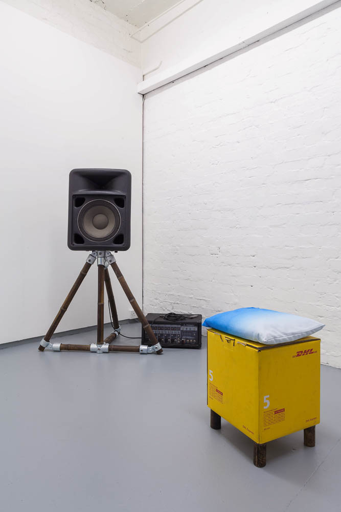 Theo Turpin, It's Love Again, 2017, pin board, single channel audio, PA, bamboo speaker stands and stool, audio loop, 6mins