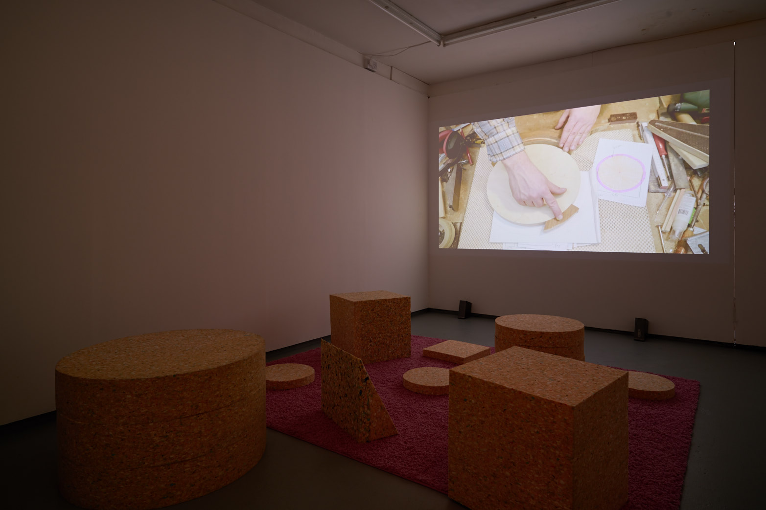 CONGLOMERATE, Installation view with still from The New Domestic Woodshop, directed by Ethan Hayes-Chute and Derek Howard, Tenderpixel, 2017.