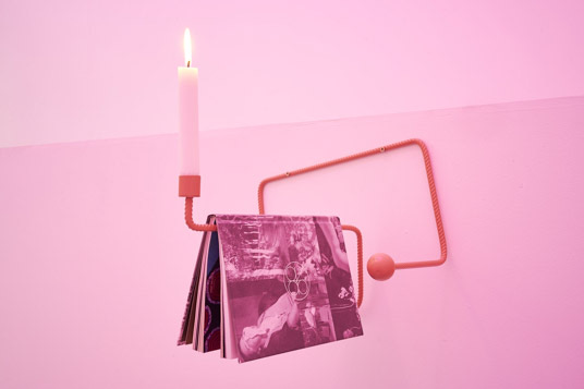 Richard Healy, Queer Spirits, 2016. Powder-coated steel with book, wax candle. As part of the exhibition Lubricants & Literature, 2016. Tenderpixel.