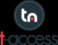 """Logo da t-access. Um círculo cinza, com o """"t"""" e o """"a"""" em destaque, nas cores branca e vermelha e o nome """"t-access"""" embaixo"""