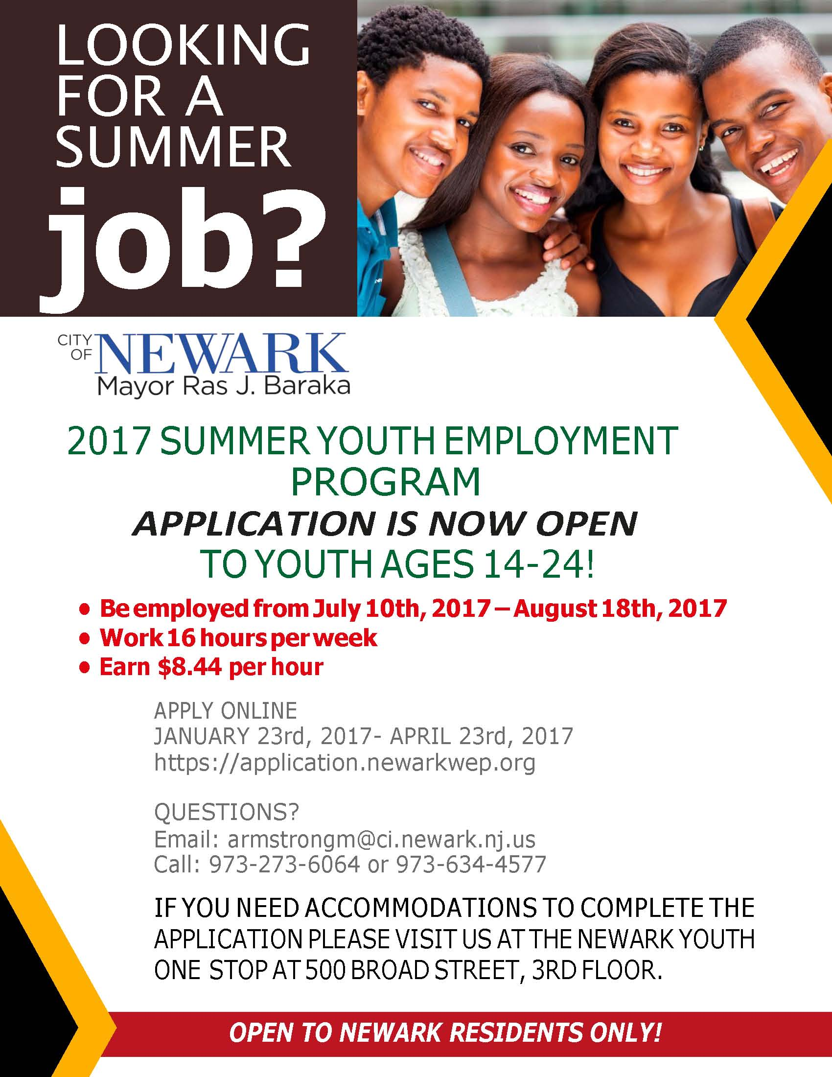 cards summer youth employment if you need accommodations or have any questions or concerns students can feel to contact marsha armstrong via emailarmstrongm ci newark nj us or call