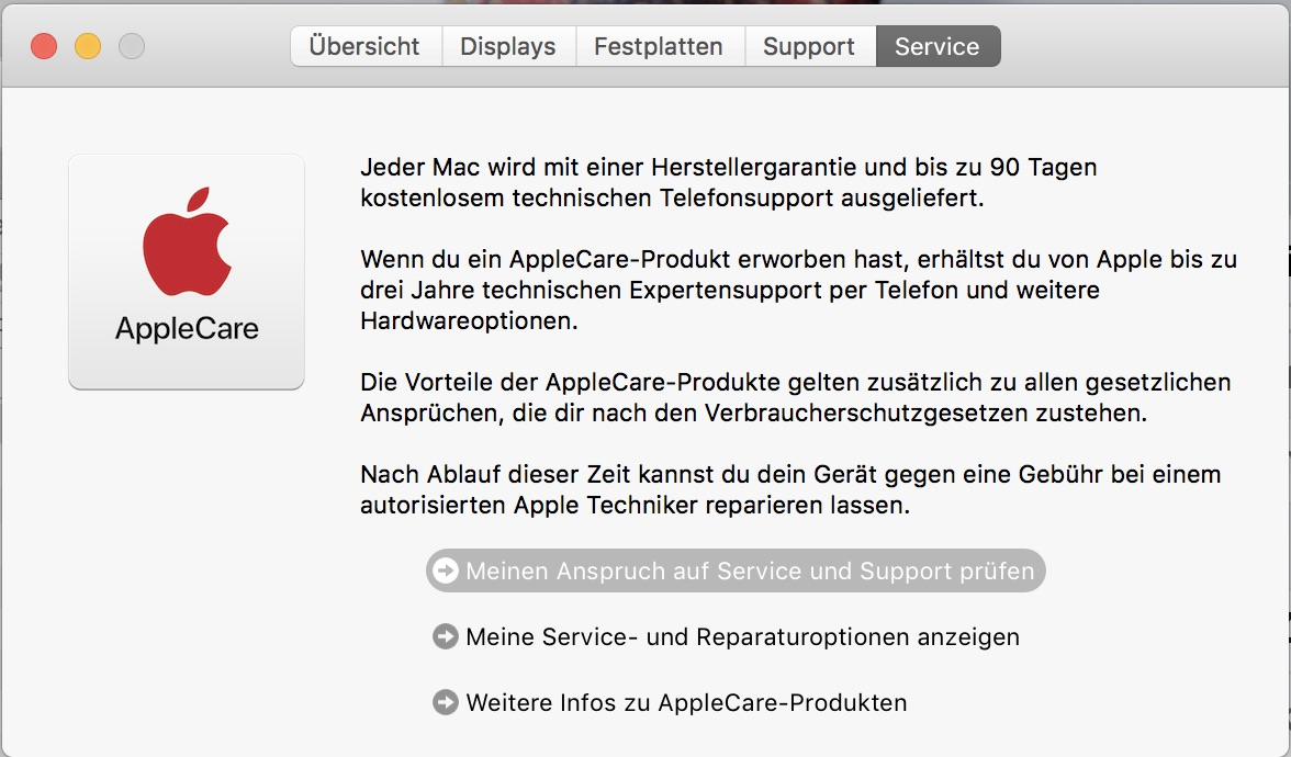 """""""Apfel"""" --> """"Über diesen Mac"""" --> """"Service"""" --> """"Meinen Anspruch auf Service und Support prüfen"""""""