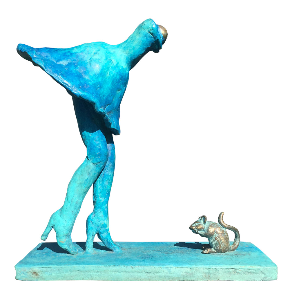zomerrokje beeld brons door Veri Wisman