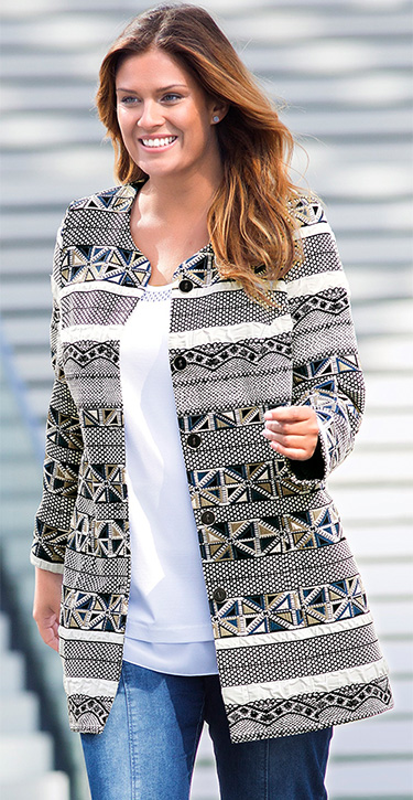 a photo of  a model wearing a geometric pattern jacket