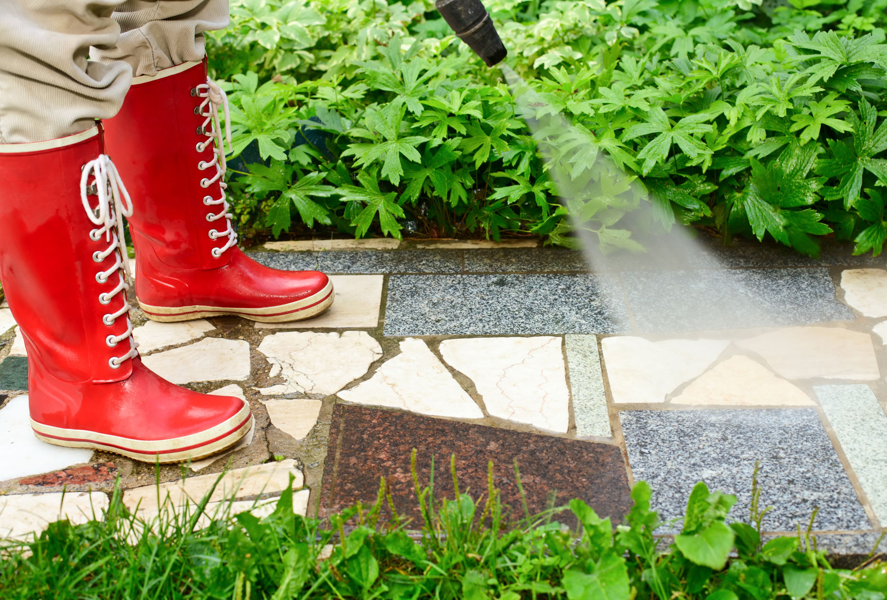 Spraying path with red boots