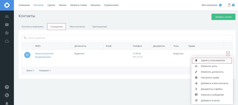 КаргоЧат Контакты Сотрудники действия с сотрудниками