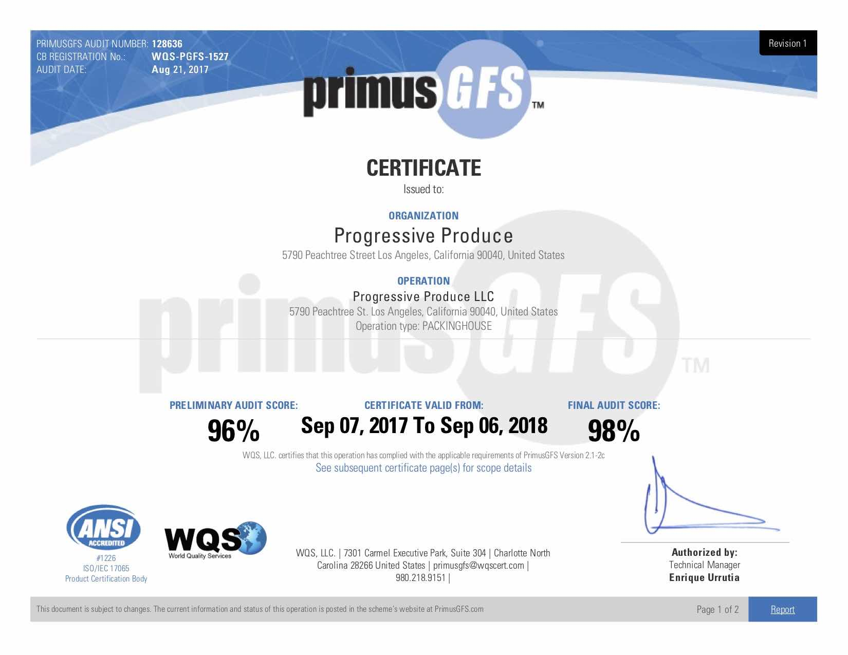 Progressive produce food safety primus food certification xflitez Images