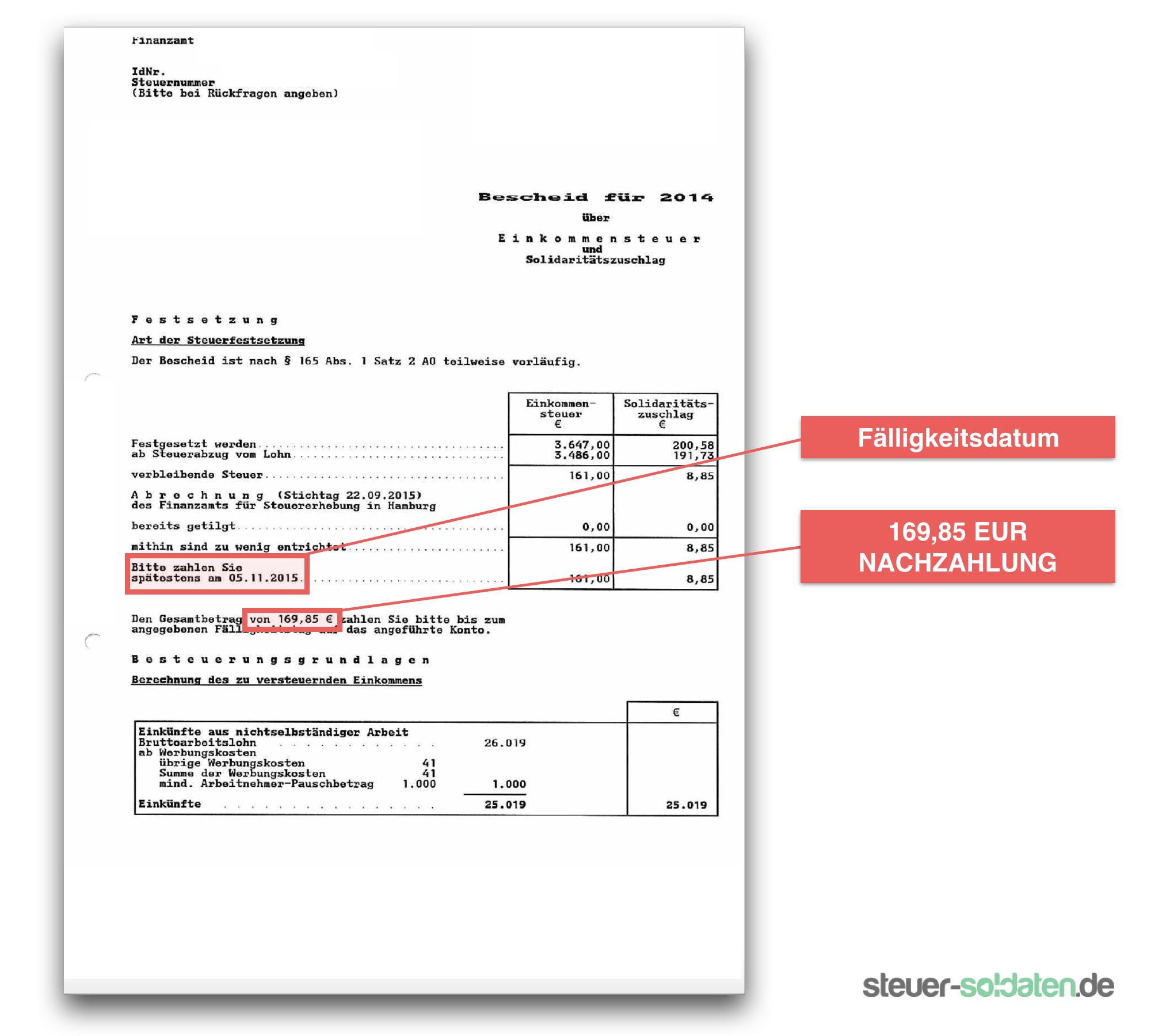 Nachzahlung Bescheid Soldat Bundeswehr