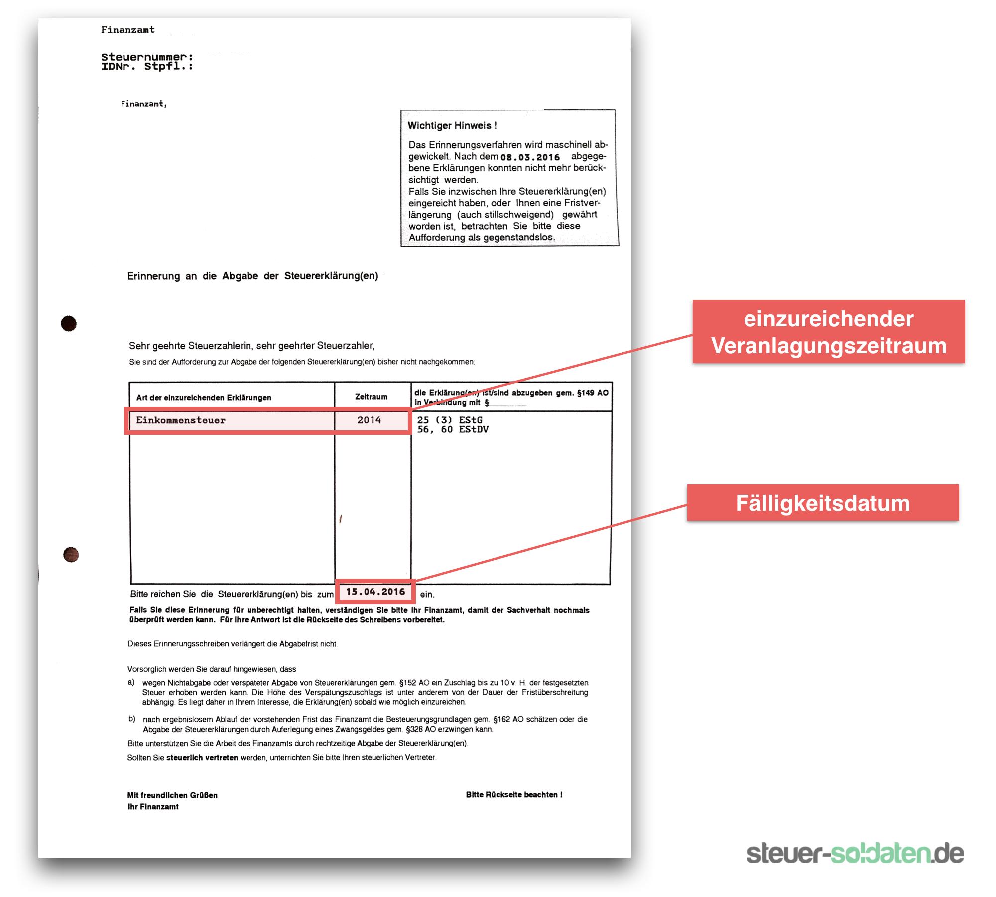 abgabepflicht steuererklrung soldaten aufforderung finanzamt - Steuererklarung Muster