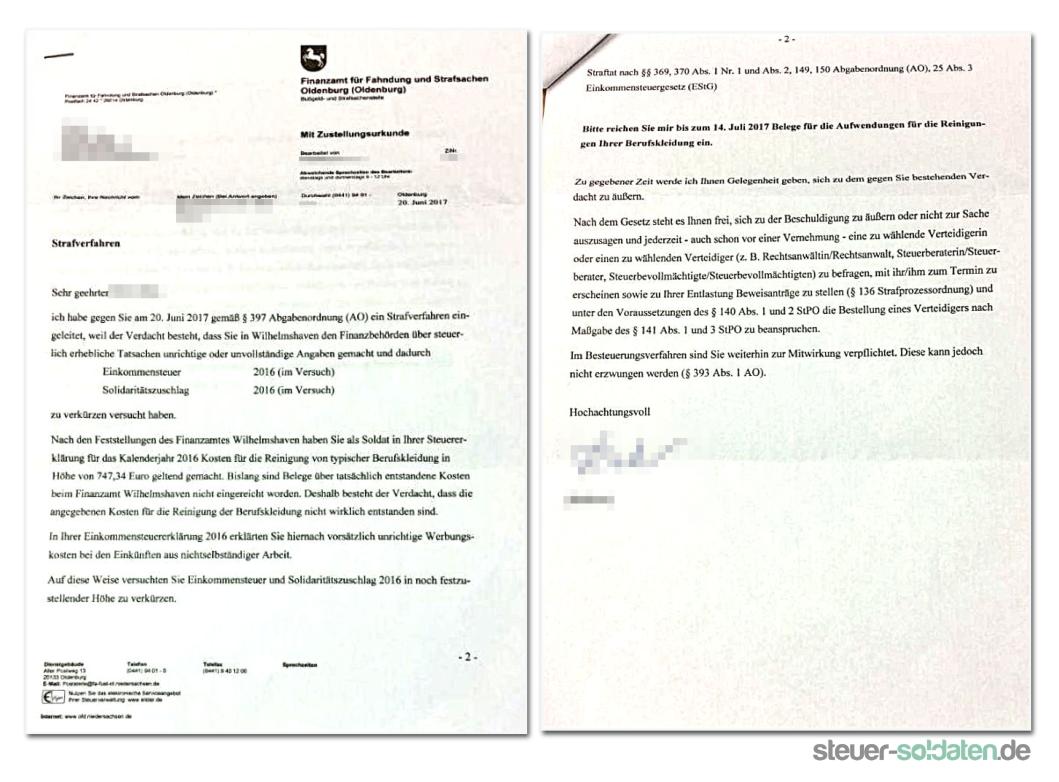 anschreiben strafverfahren - Anschreiben Finanzamt Steuererklarung