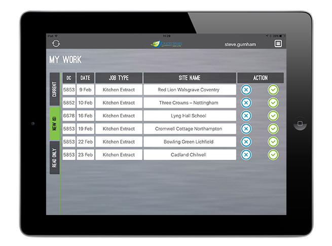 Ductclean iPad App for field staff