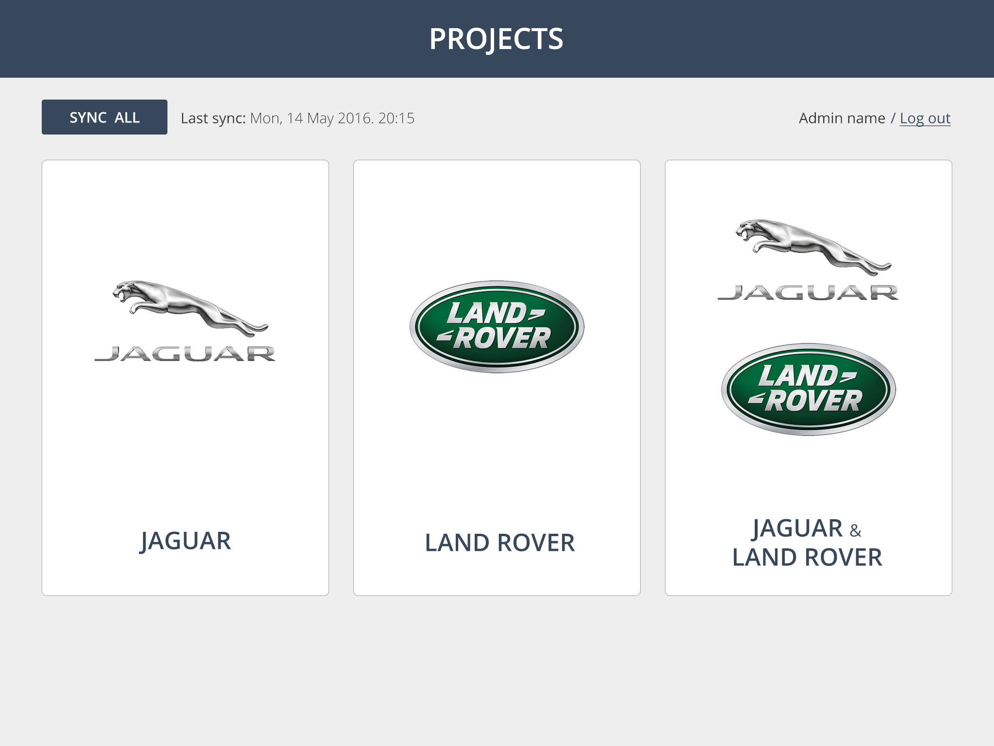 Jaguar Land Rover iPad Screenshot