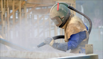 photo of surface being blasted