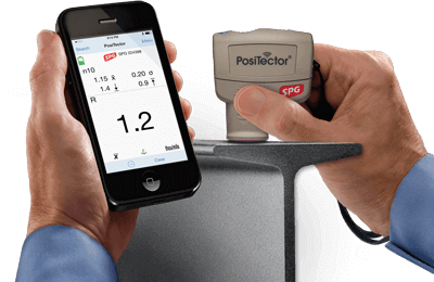PosiTector SmartLink and app in use