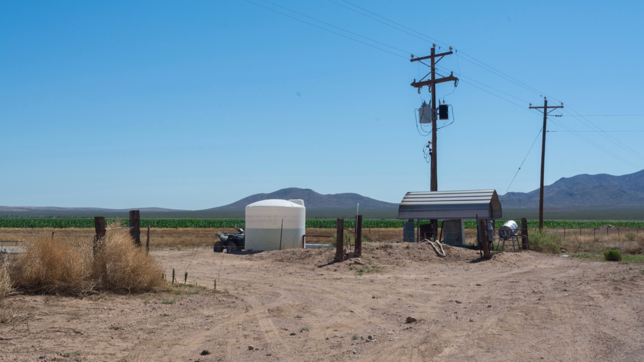 Utilities at the farm where the sorghum field is located