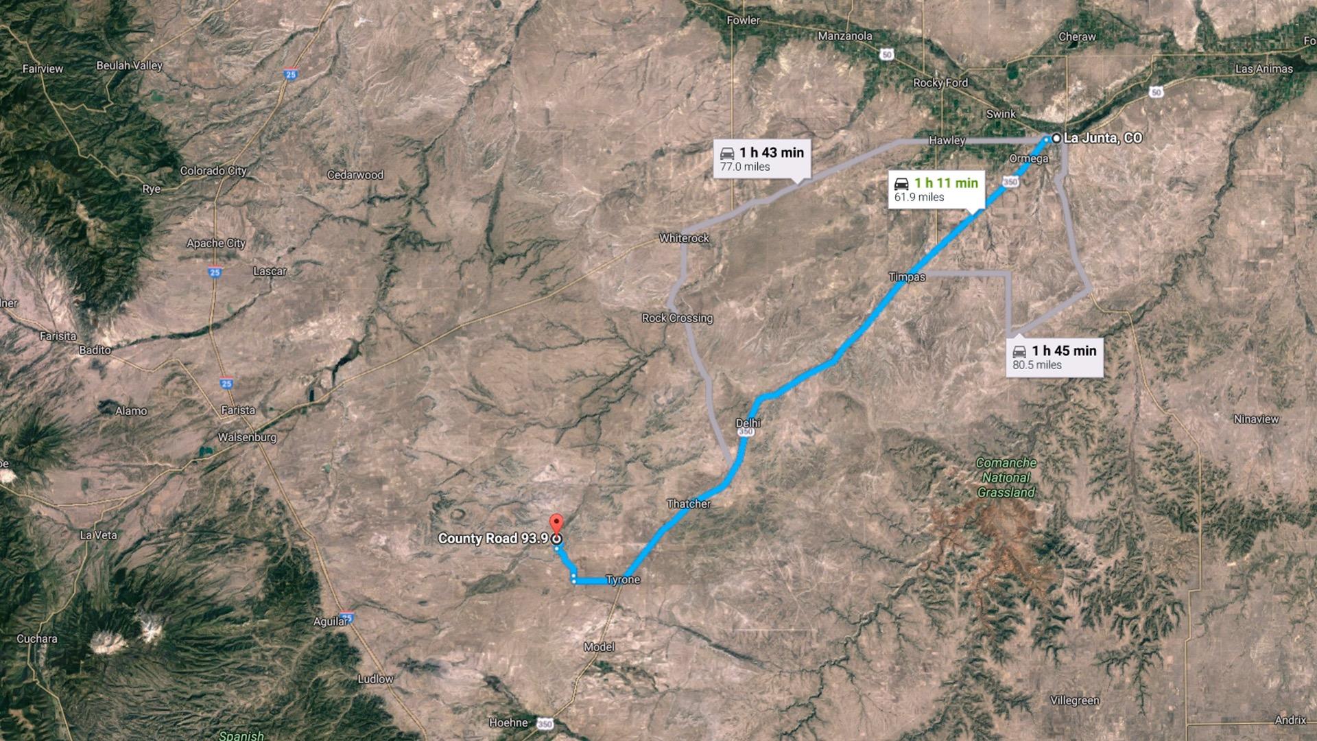 62 miles to La Junta