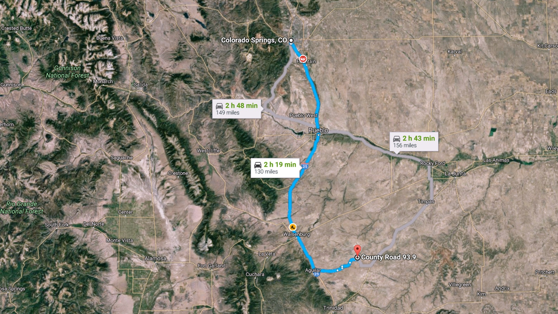 130 miles to Colorado Springs