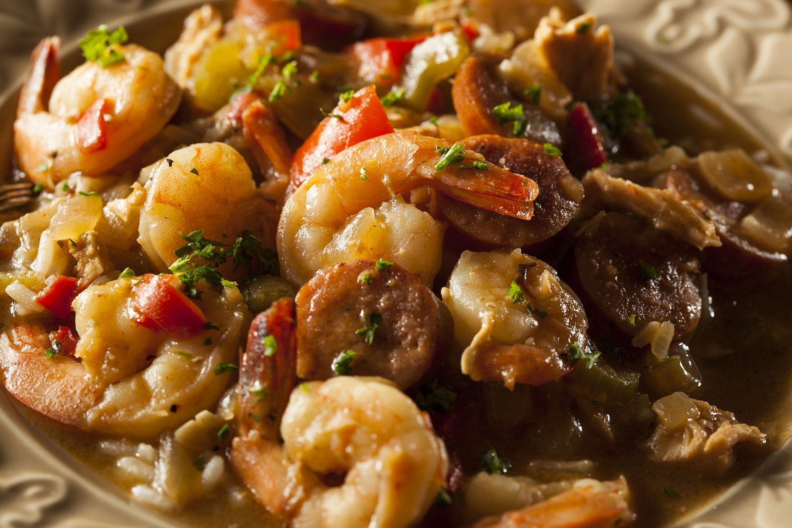 Cajun Seafood is Often Accompanied with Vegetables and Carbohydrates