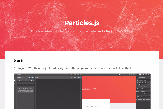 PARTICLES EFFECT - How to integrate Particles js in Webflow