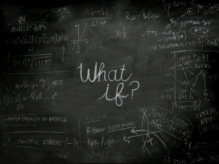 what if written on a chalk board with ux designs and symbols
