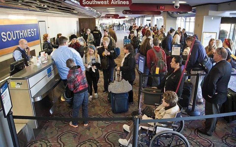 people waiting in line at Southwest airlines terminal