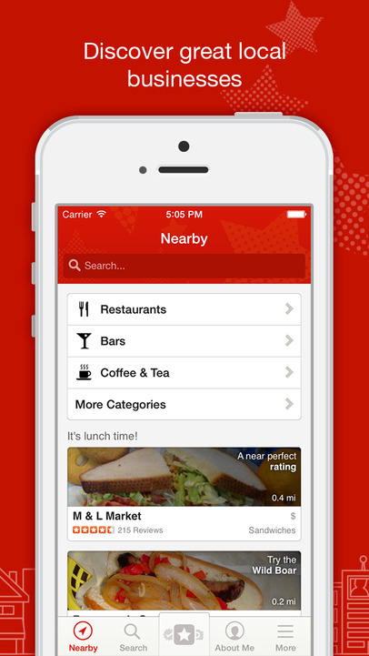 yelp app on an iphone showcasing the user experience example