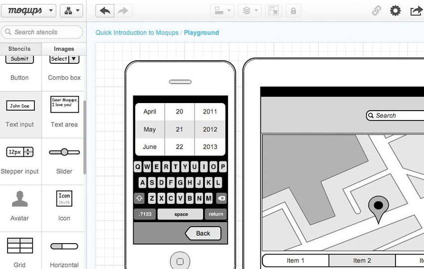 iphone wireframe built on moqups