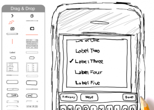 wireframe drawn with pencil for iphone