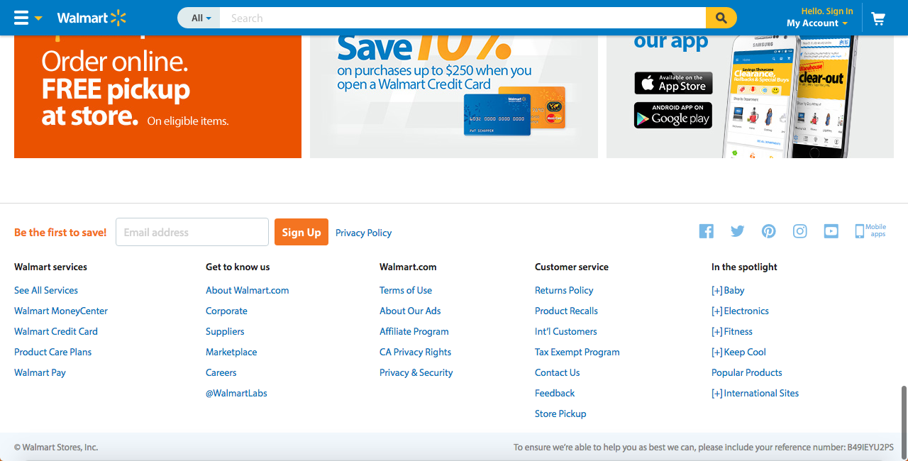 Walmart homepage with subscription button as great user experience