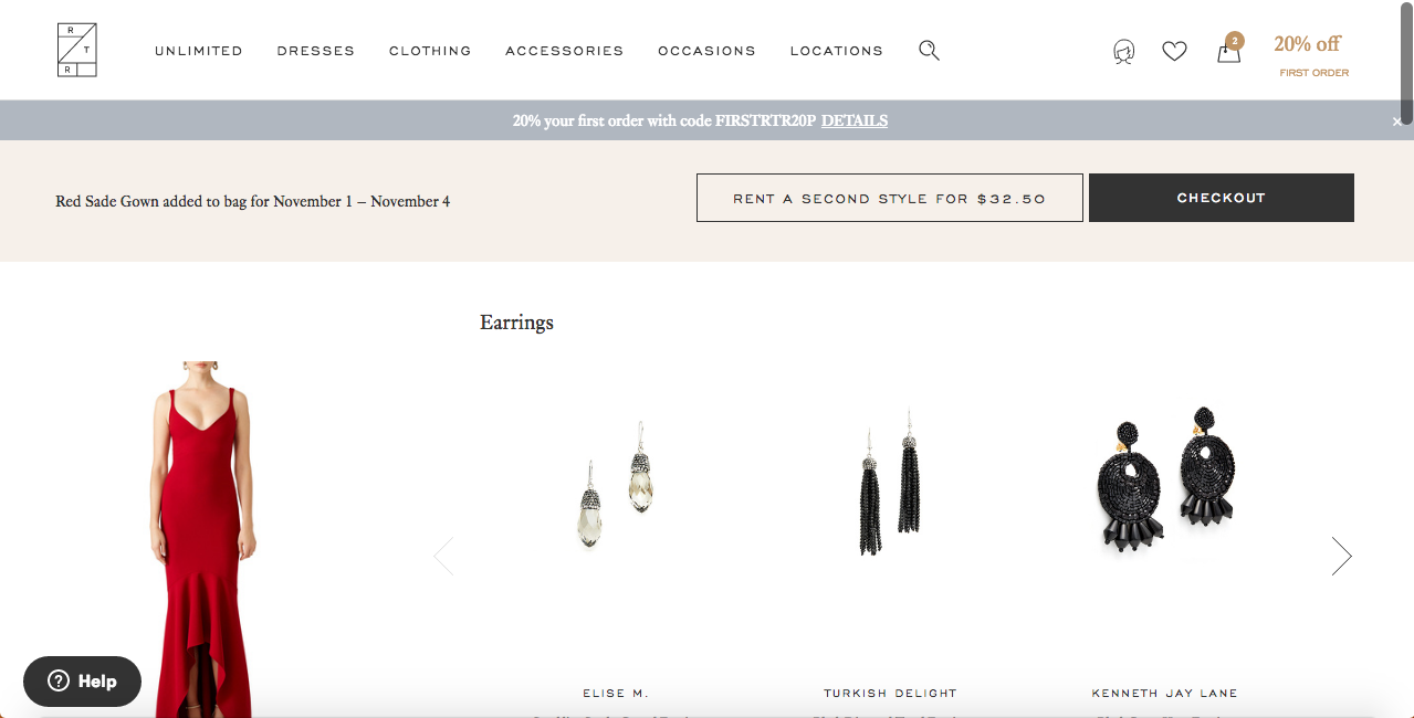 Rent the runway page selling dresses with other pairings as a great user experience example