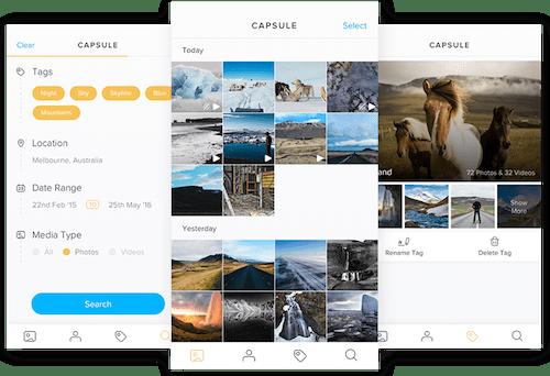 Screenshots of Capsule mobile app