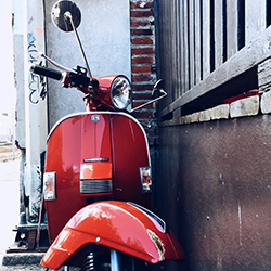 Red motorcycle Vancouver