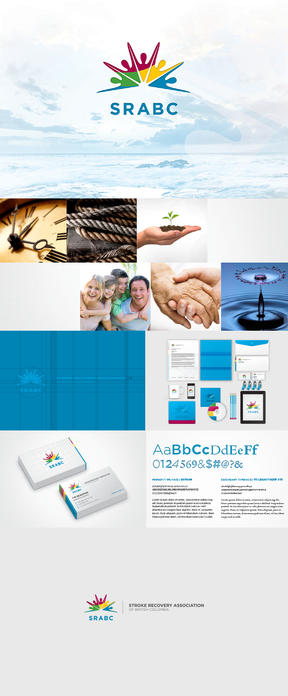 A visual compilation summarizing the brand development for Stroke Recovery Association of BC.