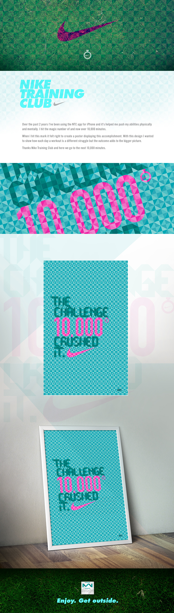 Nike poster illustration developed after completing 10,000 hours of exercise.