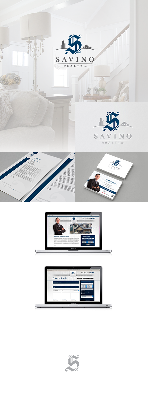 A visual compilation summarizing the brand development for Savino Realty.