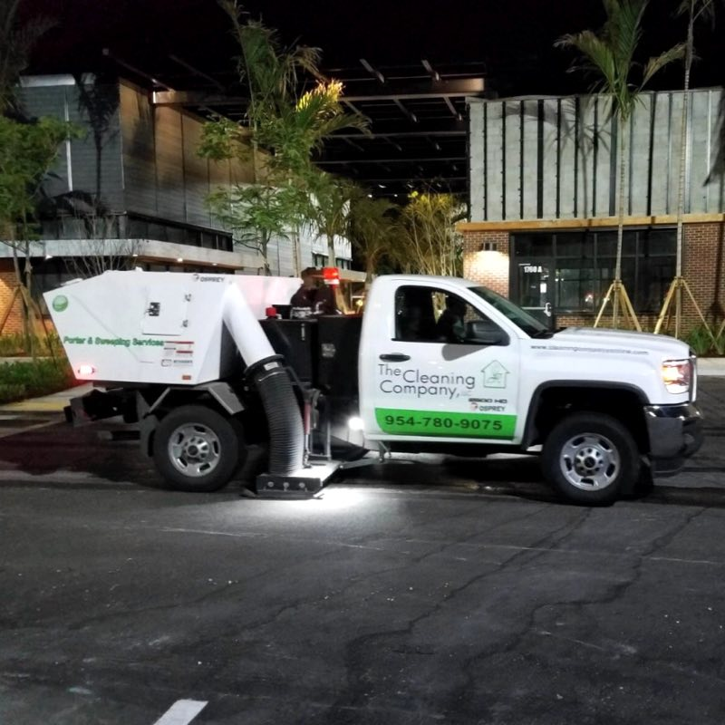 Parking lot porter service by The Cleaning Company.