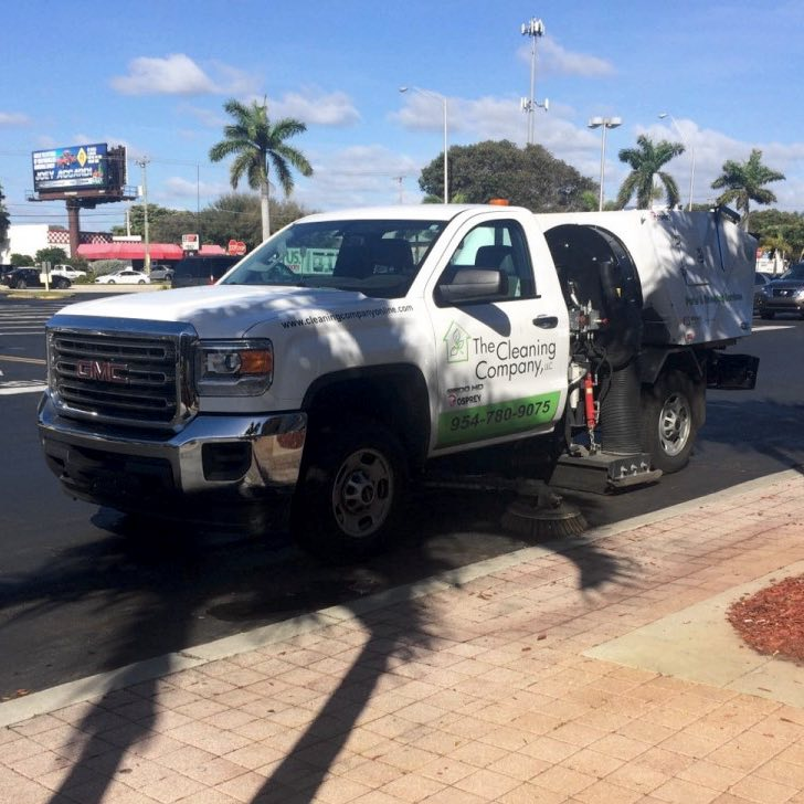 Parking lot being cleaned by The Cleaning Company in Fort Lauderdale