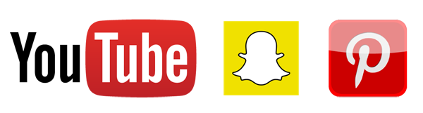 You Tube, Pinterest and Snapchat logos