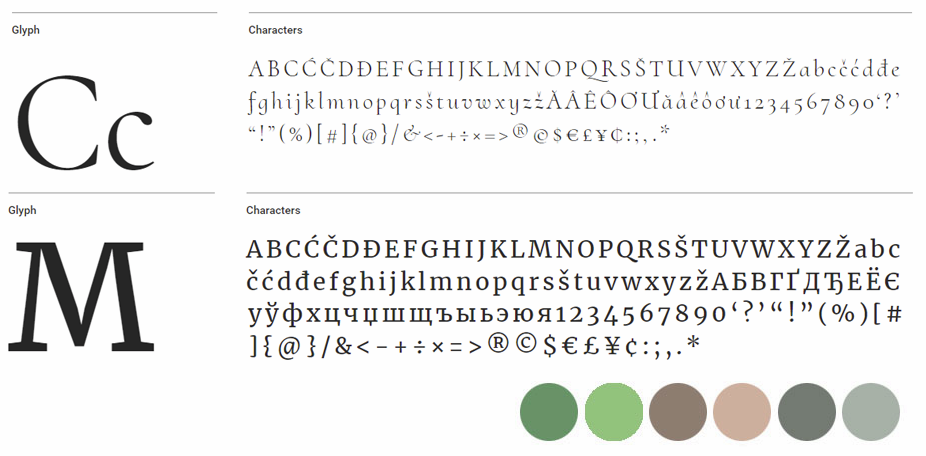Typeograph and colour pallette