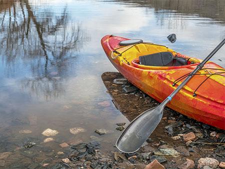 kayak docked on shore