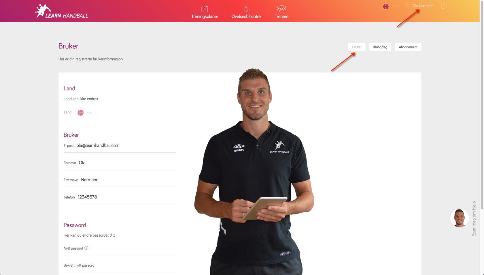 Innstillinger for bruker | Learn Handball
