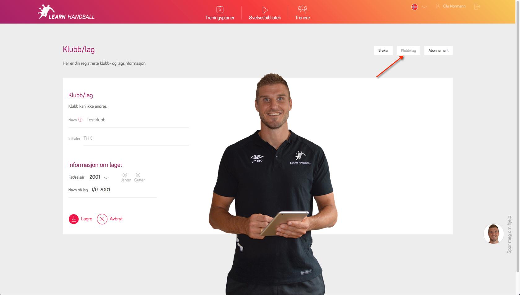 Innstillinger for klubb / lag | Learn Handball