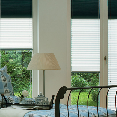 pleated blinds in bedroom
