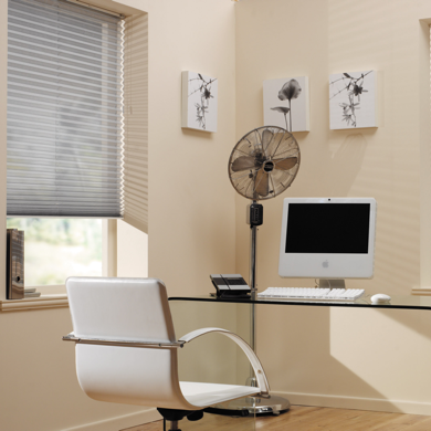 pleated blind in office