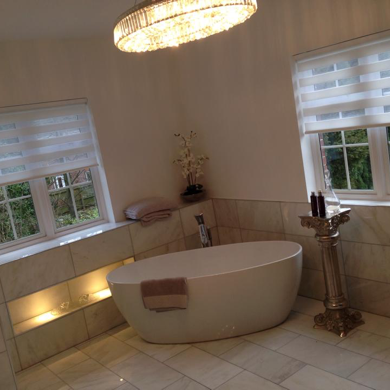 white vision blinds fitted in luxury bathroom