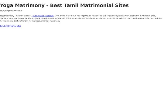Yoga Matrimony - Best Tamil Matrimonial Sites - Webflow