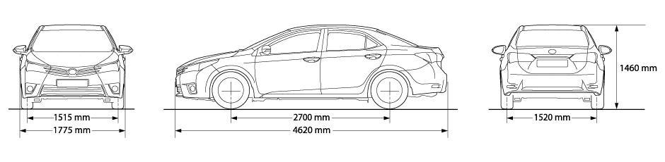 kích thước xe corolla altis 2017 mới