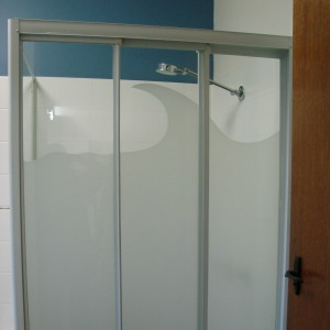 Image of glass shower with matte film applied to create a decorative partition.