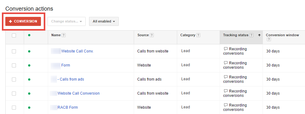 Google Adwords Conversion Actions Button